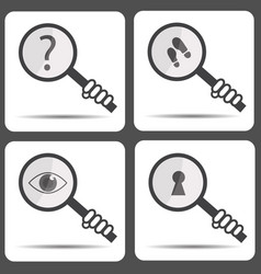 set icons with a magnifying glass detective icon vector image vector image