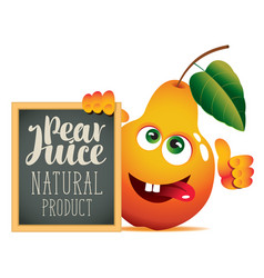 banner for fresh juice with funny pear vector image vector image
