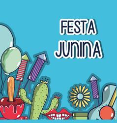 Colorful elements of festa junina celebration vector