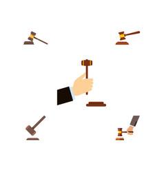 flat icon hammer set of hammer crime tribunal vector image