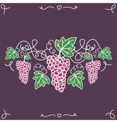 Hand-drawn decorative ripe grapes on the vine vector image vector image