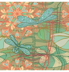 Seamless pattern with dragonflies vector image vector image