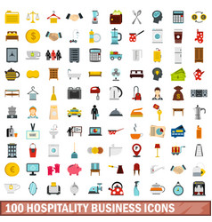 100 hospitality business icons set flat style vector