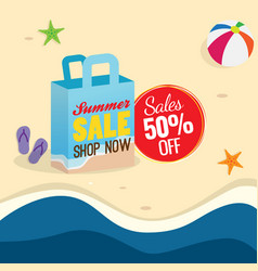 50 off summer sale poster design shopping bag vector