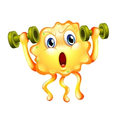 A cute monster exercising with dumbbells vector