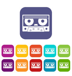 Audio cassette tape icons set flat vector