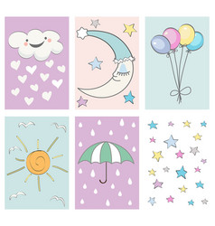 baby shower card set - for birthday party design vector image