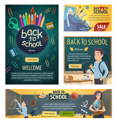 back to school banners with stationery for lessons vector image