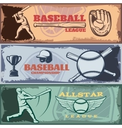 Baseball Tournaments Horizontal Banners Set vector image