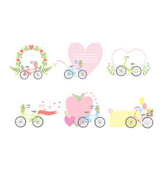 bicycles and floral elements elegant romantic card vector image