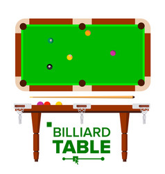 billiard table top side view green vector image