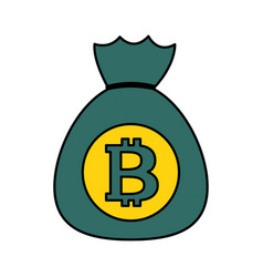 bitcoin money bag cryptocurrency on white vector image