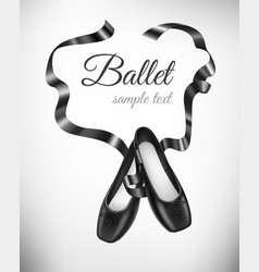 Black ballet shoes on background vector