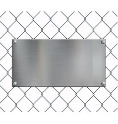 Blank metal plate on netting grid fence vector
