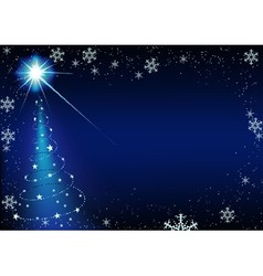 Blue Glowing Xmas Tree vector image