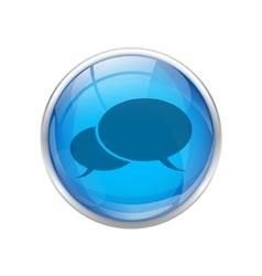 Blue talk button vector
