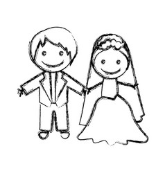 blurred hand drawn silhouette with married couple vector image