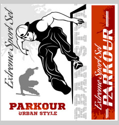 Boy parkour is jumping - and emblem vector