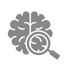 Brain with magnifying glass gray icon organ vector