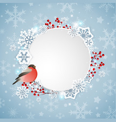 bullfinch and white snowflakes vector image