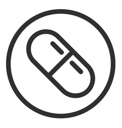 Capsule in circle icon outline style vector