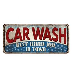 Car wash vintage rusty metal sign vector