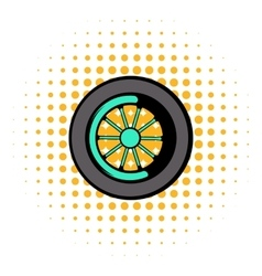 Car wheel icon comics style vector