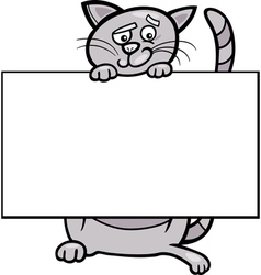 cartoon cat with board or card vector image vector image