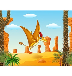 Cartoon funny pterodactyl flying with prehistoric vector image