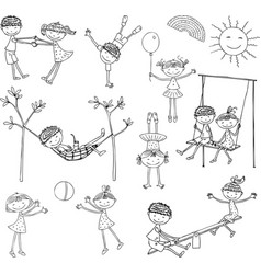 cartoon kids play and relax on a summer day vector image