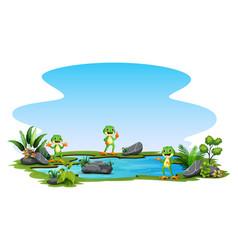 cartoon three a frog standing around small pon vector image