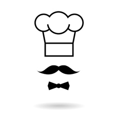 Chef hat and moustache icon vector image