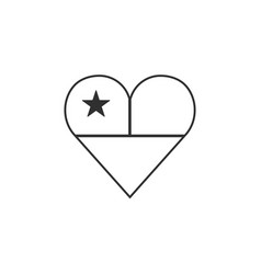 Chile flag icon in a heart shape in black outline vector