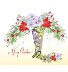 Christmas Card with Vase and Bouquet of Poinsettia vector image