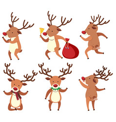 Christmas reindeer doing different things vector