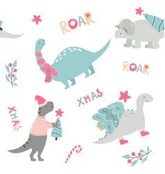 christmas seamless pattern with dino holiday print vector image