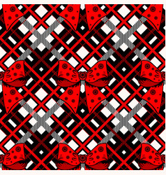Christmas with red ribbon bow and tartan vector