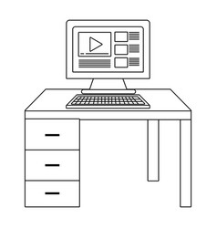Computer and desk black and white vector