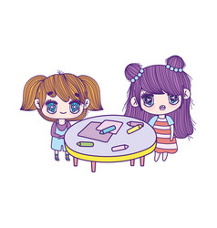 cute little girls cartoon with table and crayons vector image