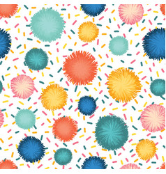 decorative pom poms and sprinkles seamless repeat vector image