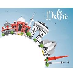 Delhi Skyline with Gray Buildings Blue Sky vector image