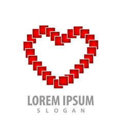 digital pixel love shape logo concept design vector image
