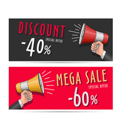 discount flyers for sale with loudspeaker vector image