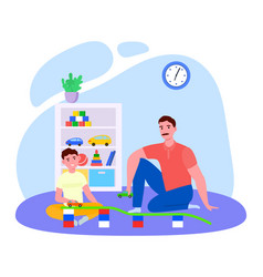 Father time with son cartoon vector