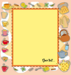 frame with tea accessories vector image