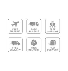free shipping delivery icons set vector image