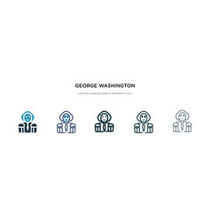 George washington icon in different style two vector