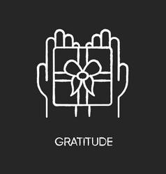 Gratitude chalk white icon on black background vector