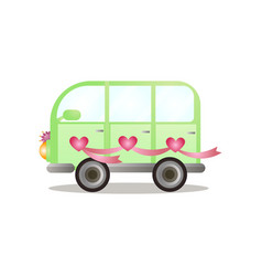 green colorful bus van just married couple vector image