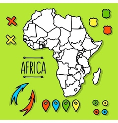 Hand drawn Africa travel map with pins vector image vector image